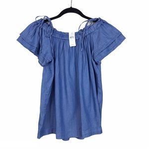 NWT Loft Chambray Blue Tie Off The Shoulder Top S